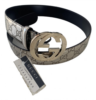 Gucci Interlocking Buckle Silver Leather Belts