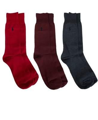 Polo Ralph Lauren Boxed 3 Pack Plain Socks Colour: Burgundy Grey Red,