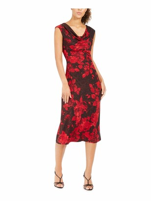 Connected Apparel Womens Red Glitter Floral Cap Sleeve Cowl Neck Midi Sheath Evening Dress UK Size:10