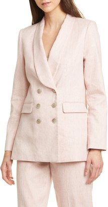 Tailored by Rebecca Taylor Double Breasted Slub Suiting Jacket