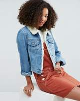 Asos Denim Shrunken Borg Jacket in Tammy Midwash Blue