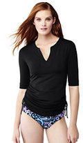 Lands' End Women's Petite Adjustable Swim Tunic Rash Guard-Black