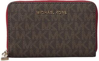 MICHAEL Michael Kors Jet Set Small Zip Around Card Case (Brown/Bright Red) Handbags