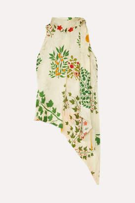 Oscar de la Renta Asymmetric Pussy-bow Floral-print Silk-jacquard Top - Ecru