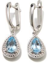 Sevilla Silver 1.88ctw Sky Blue Topaz Diamond-Accented Drop Earrings