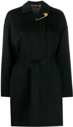Versace cashmere Medusa pin belted coat