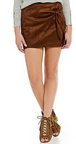 GB Faux-Suede Wrap Skirt