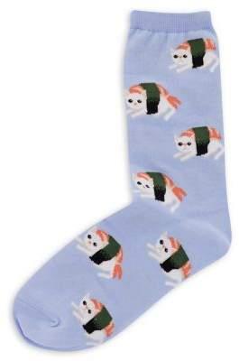 Hot Sox Sushi Cat Crew Socks