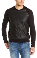 Kenneth Cole New York Kenneth Cole Men's Long Sleeve Pleather Front Crew