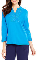 Allison Daley Y-Neck 3/4 Sleeve Embroidered Solid Knit Top