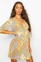 boohoo Mixed Floral Print Ruffle Detail Smock Dress