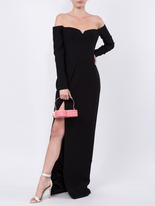 Cold-shoulder Crepe Corset Gown