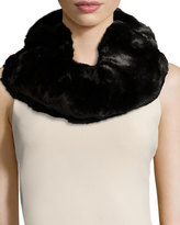 Neiman Marcus Faux-Fur Double Loop Neck Warmer, Black