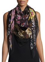 Alexander McQueen Floral Ruffle Silk Chiffon Scarf, Black/Multicolor