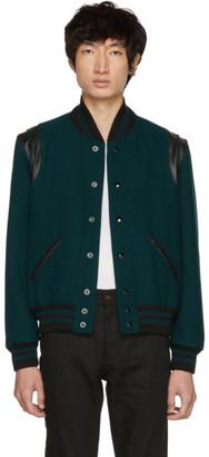 Saint Laurent Blue Canard Teddy Bomber Jacket