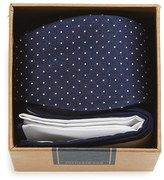 The Tie Bar Men's Dot Silk Bow Tie & Cotton Pocket Square Style Box