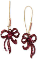 Betsey Johnson Two-Tone Pink Crystal Bow Drop Earrings