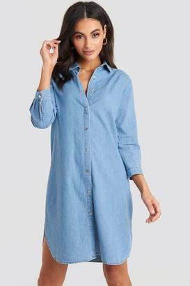 NA-KD 3/4 Length Sleeve Denim Shirt Dress Blue