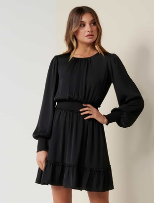 Forever New Jessica Long-Sleeved Smock Dress - Black - 10