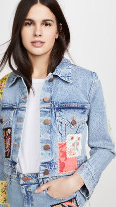 Alice + Olivia Crop Boxy Jacket with Patchwork