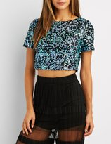Charlotte Russe Sequin Zip-Back Crop Top