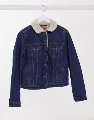 Levi's original sherpa trucker jacket in mid wash blue