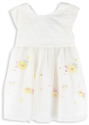 Petit Bateau Baby Girl's Floral Embroidered Fit & Flare Dress