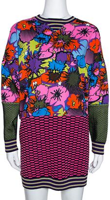 M Missoni Multicolor Pop Art Print Rib Knit Sweater Dress S