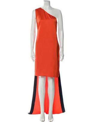 Stella McCartney Colorblock Pattern Long Dress Orange