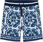 Dolce & Gabbana Blue and White Tile Print Sweat Shorts