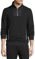 Michael Kors Mesh-Trim Half-Zip Pullover Sweater, Black