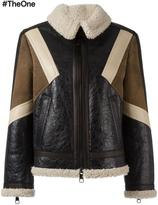 Neil Barrett panelled leather jacket - women - Lamb Skin/Lamb Fur - M