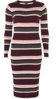 Dorothy Perkins Womens Multi Coloured Stripe Knitted Midi Dress- Multi Colour