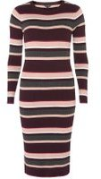Dorothy Perkins Womens Multi Coloured Stripe Knitted Midi Dress