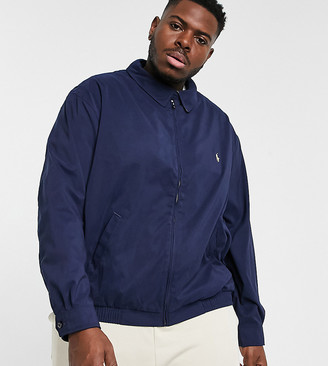 Polo Ralph Lauren Big & Tall player logo Bi-Swing harrington jacket in navy