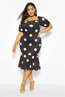 boohoo Plus Polka Dot Puff Sleeve Peplum Hem Midi Dress