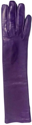 Salvatore Ferragamo Purple Leather Gloves
