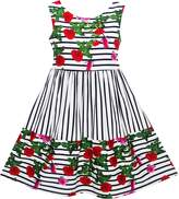 Sunny Fashion JJ95 Girls Dress Striped Red Rose Bow Tie Princess Party School