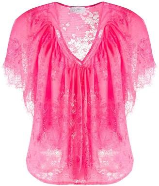 Soallure floral lace V-neck blouse