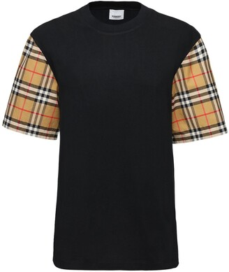 Burberry Cotton T-Shirt W/ Check Sleeves