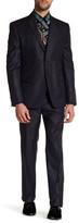 Versace Notch Lapel Two Button Solid Navy Suit