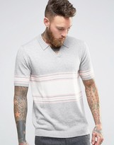 Asos Knitted Stripe Polo in Merino Wool Mix