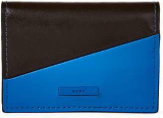 DKNY Electric Blue & Black Colorblock Leather Snap Card Case
