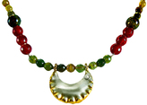 Chen Fuchs Jewelry Mix Beaded Gold-Plated Pendant Necklace