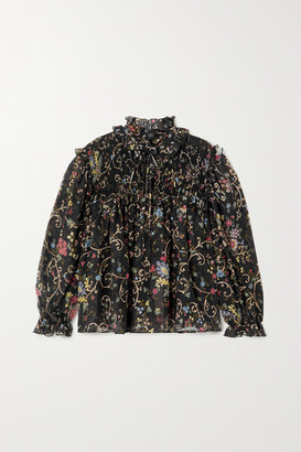 Etro Ruffled Shirred Floral-print Silk And Wool-blend Chiffon Blouse - Black