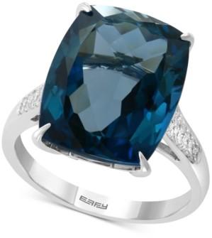 Effy London Blue Topaz (13 ct. t.w) & Diamond (1/8 ct. t.w.) Ring in 14k White Gold