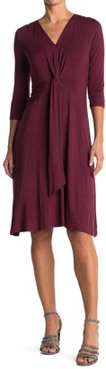 WEST KEI 3/4 Sleeve V-Neck Knit Dress