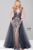 Jovani Embellished Column Dress with Tulle Overlay JVN46081
