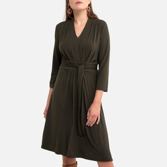 Anne Weyburn Flared Draping Mid-Length Dress with 3/4 Length Sleeves