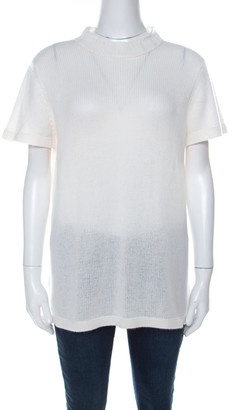 Prada Off White Ribbed Cashmere Knit High Collar Sweater Top M